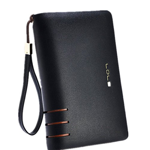 Clutch Handbag Double Zipper Leather Men Bag Black - 2