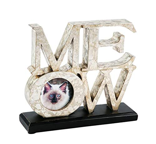 Pet Junkie Meow Cat Picture Frame, Silver with Black Base, 3 inch x 3 inch -
