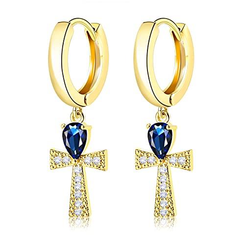 UHIBROS Gold Cross Hoop Earrings, 18K Gold Plated Pave CZ Gold Cross Small Hoop Earrings Dangle Sapphire Jewelry for Girls Women