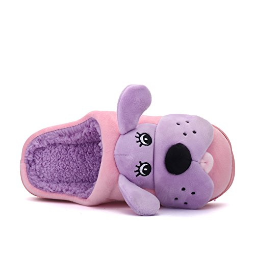 Inverno fankou cute cane elemento cartoon home giovane cotone e multi-colore opzionale in cotone leggero pantofole ,40, Rosa viola