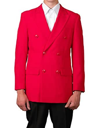 New Mens Red Double Breasted Dinner Blazer Suit Jacket