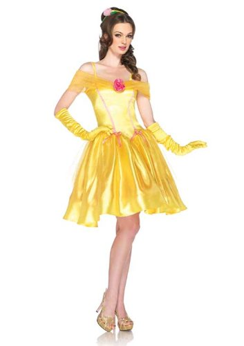 Leg Avenue Disney Princess Belle Costume Dress and Headpiece, Yellow, Small