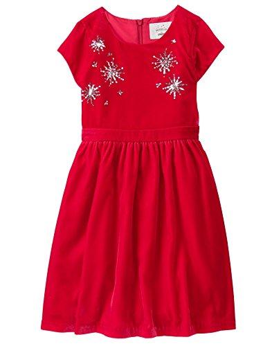 Velvet Holiday Dress (Gymboree Little Girls' Velvet Dressy Dress, Holiday Red, 7)