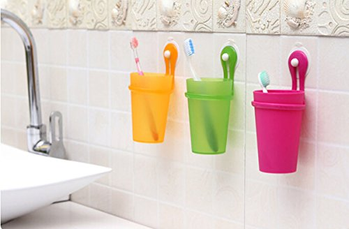 Fusicase Magic Cup,Fusicase Creative Bathroom Plastic Suction Cup Hanging Tooth mug Couples Toothbrush Cup(Green)