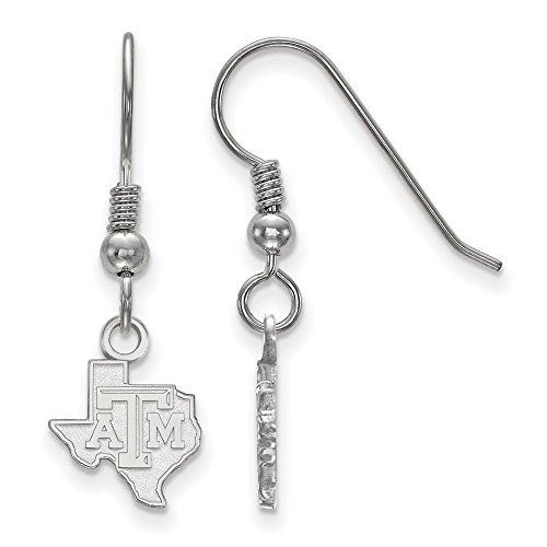 925 Sterling Silver Officially Licensed Texas A&M University College Mini Small Dangle Wire Earrings (10 mm x 10 mm) by Mia's Collection