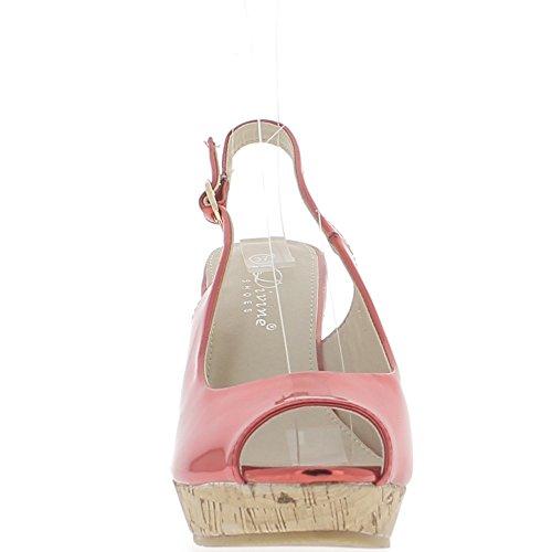 Sandali rossi compensata donna tacco metallico cm 10,5