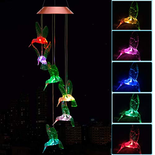 Solar Hummingbird Wind Chimes, Outdoor Waterproof Mobile Romantic LED Color-Changing Multi Solar Sensor Powered Wind Chimes Lights for Home, Yard, Night Garden, Party, Valentines Gift, Festival -