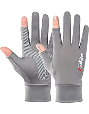 Ice Silk Non-Slip Gloves Sunscreen Gloves Men And Women Summer UV Protection Riding Fishing Ice Silk Leaking Two Fingers Thin Section Non-slip Driving Half FingerBreathable Outdo