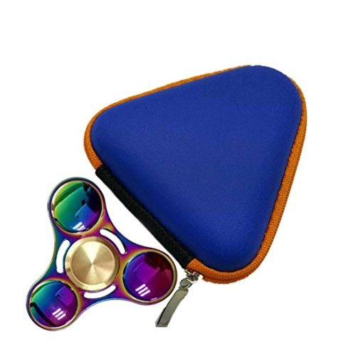 Price comparison product image Kshion Fidget Hand Spinner Triangle Finger Toy Focus ADHD Autism Bag Box Carry Case Packet (Blue)