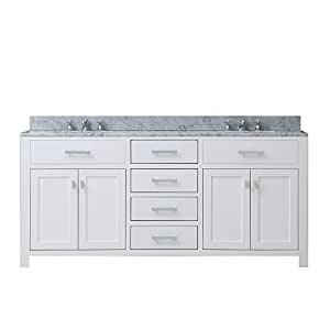 Water Creation MADISON 72W 72-Inch Solid White Double Sink Bathroom Vanity