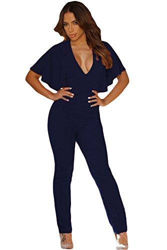 Nouveau Mesdames bleu foncé manches Cape Combinaison Body Club Parti Porter Porter Taille M UK 12EU 40