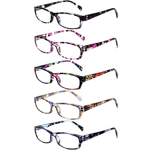 Reading Glasses 5 Pairs Stylish Color Readers Fashion Glasses for Reading Men & Women (5 Pack Mix Color, 3.00)