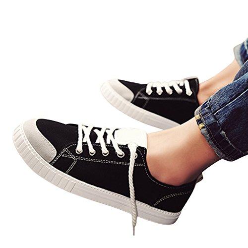 Cher Temps Bonbons Couleur Été Chaussures Toile Lacer Formateurs Occasionnels Pour Les Hommes Noirs
