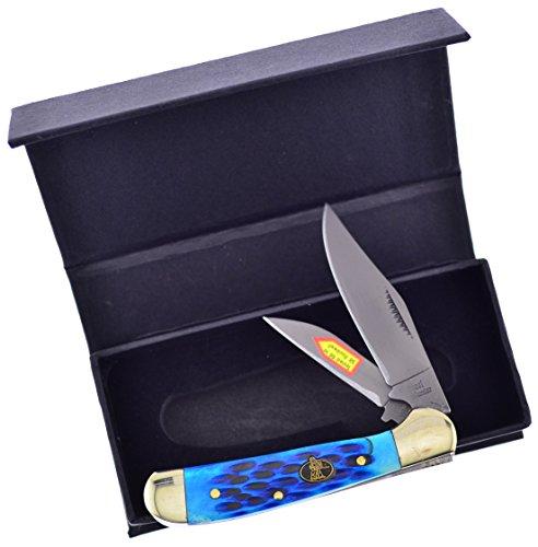 Steel Warrior Jigged Cancun Blue Bone Locking Copperhead Carbon Steel Pocket Knife Knives