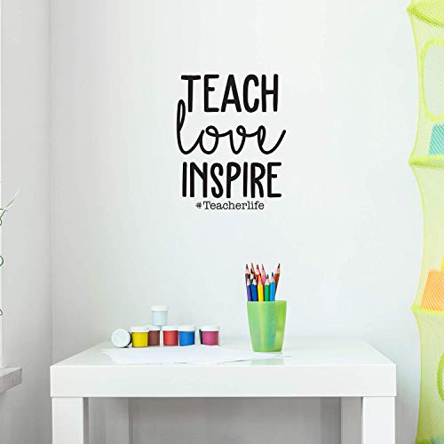 """Vinyl Wall Art Decal - Teach Love Inspire #Teacherlife - 22"""" x 17.7"""" - Trendy Inspirational Teachers Quote for Home Living Room Bedroom Office Workplace School Classroom Indoor Decoration from IMPRINTED DESIGNS WALL DECALS"""