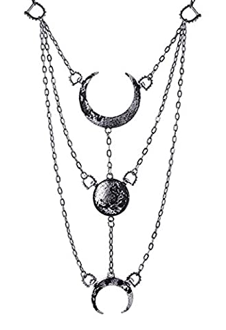MOON PHASES SILVER NECK WEAR Fashion Accessory Long Crescent pendant (Moon Phase Pendant)