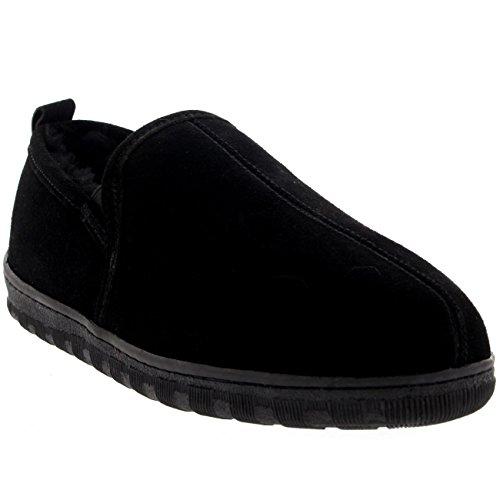Hombre Real Suede Piel De Oveja Australiano Pelaje Zapatilla Zapato Negro
