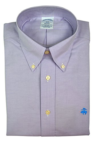Brooks Brothers Men's Regent Slim Fit Supima Button Down Shirt Chambray Purple (X-Large) (Down Brothers Shirt Brooks Button Dress)