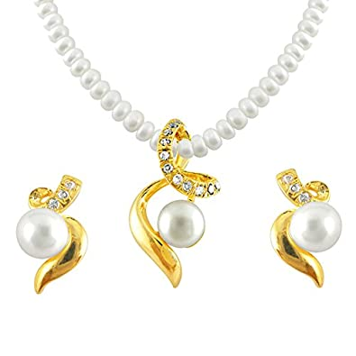 Buy sri jagdamba pearls pearl white pendant necklace with earrings sri jagdamba pearls pearl white pendant necklace with earrings set for women aloadofball Image collections