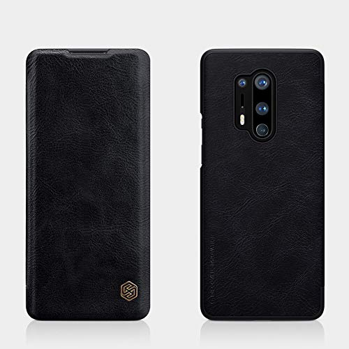 nillkin qin series luxury leather wallet Flip Covercover for  oneplus 8 pro, black