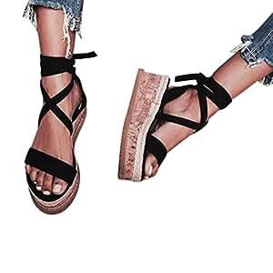 e473b1b43635 Baigoods Ladies Women Roman Shoes Platform Woven Thick-Bottom Waterproof  Wedge Cross-tied Sandals