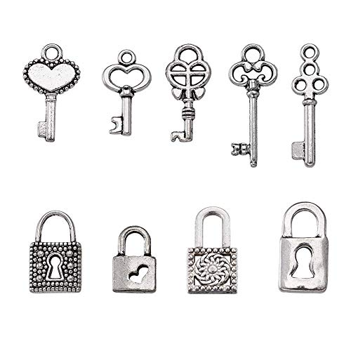 Kissitty 50pcs Antique Silver 10 Styles Vintage Skeleton Small Key & Lock Charms Collection 10~21.5x6.5~10mm Lead Free for DIY Jewelry Craft Making ()