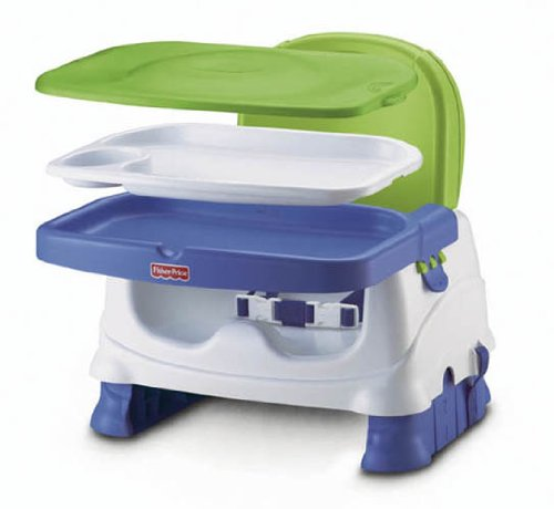 Fisher-Price Healthy Care Deluxe Booster Seat, Blue/Green/Gray - Green Booster Chair