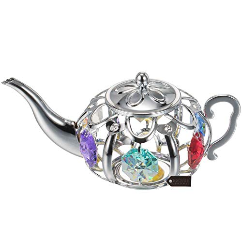 Matashi Chrome Plated Tea Pot Ornament with Multi-Colored Crystals