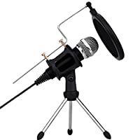 XIAOKOA Computer and phone Condenser Microphone for Recording,Podcasting,Online Chatting Such as Facebook,MSN,Skype,with Audio Cable,Desktop MIC Stand with dual-layer acoustic filter (Black)