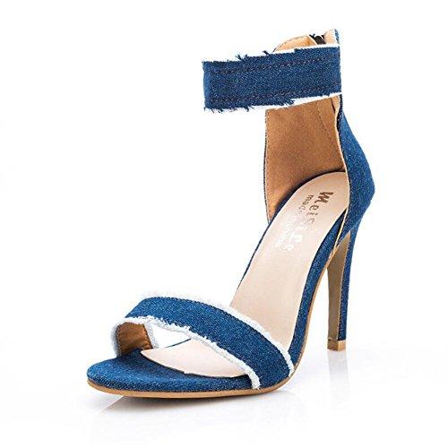 alto blue Nuove tacco GAOLIXIA col nappe scarpe da Scarpe comode donna denim moda Sandali in Fine donna Estate da con Light q1RYEpYnx