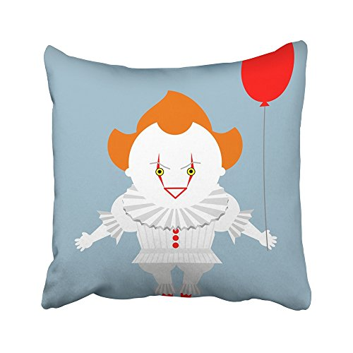 Emvency Decorative Throw Pillow Covers Cases Pennywise Angry Evil Red Haired Clown Balloon King Stephen Crazy Creepy Person Scary Cartoon 16x16 inches Pillowcases Case Cover Cushion Two Sided ()
