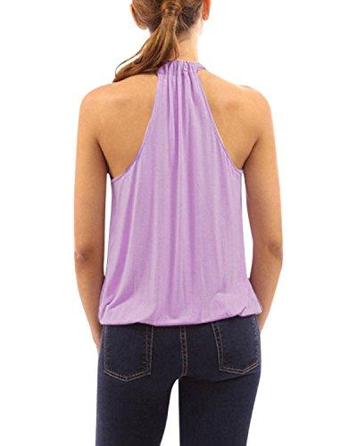 ZANZEA Mujer Camiseta sin Mangas Blusa Algodón Cuello Halter Elegante Playa Deportiva Morado