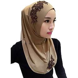 Froomer Lace Embroidery Chiffon Muslim Cap Hijab Scarf Islamic Cover Head Scarf