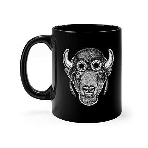 (Cool Animal Wearing Aviator Motorcycle Biker Helmet Buffalo Bisonox Bull Hand Drawn Image Tattoo Emblem Badge Logo Patch Sto Cow Funny Mugs Cups Ceramic 11 Oz)