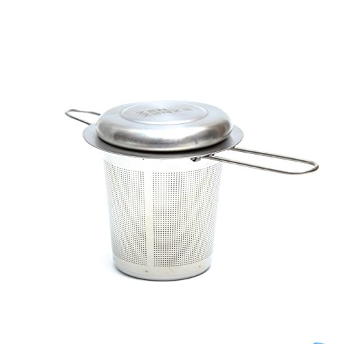 Zenzenze Tea Infuser Foldable Arm, Stainless Steel Strainer Filter, Perfect Loose Leaf Tea Single Cup, Lid Tray, FREE Recipe - Handle Indulge Single