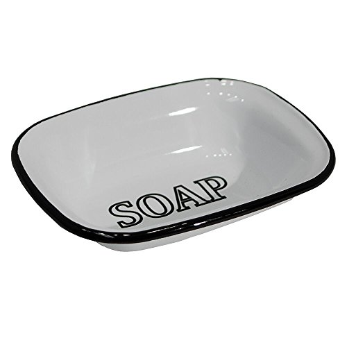 White Enamel Soap Dish with Black Lettering from VIPSSCI