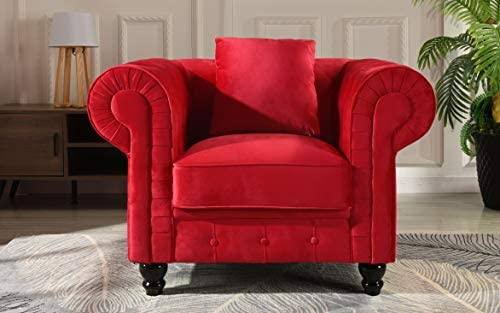 Classic Scroll Arm Large Velvet Living Room Chesterfield Accent Chair Red