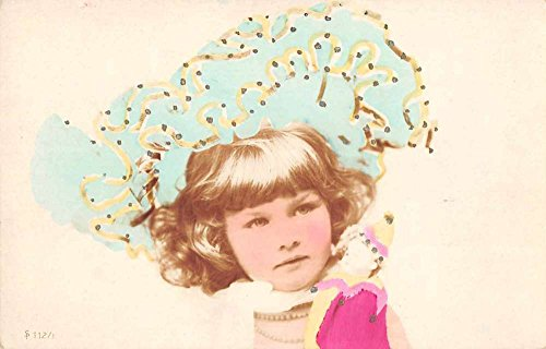 (Little Girl with Big Hat Clown Pierrot Doll Tinted Real Photo Postcard J65992)