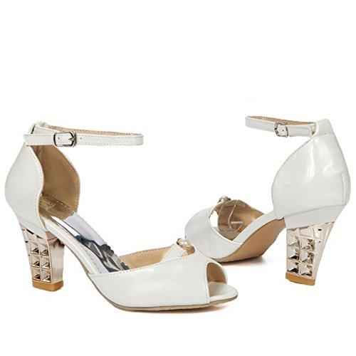 Bride Peep White Sandales Toe Cheville TAOFFEN Femmes qvwTx5B6t