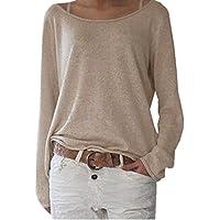 ZANZEA sólidos de la mujer o cuello de manga larga casual Knit Tops Blusa Pullover