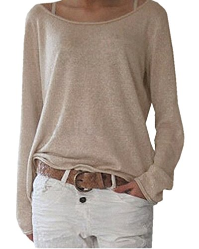 ZANZEA Women's Solid O Neck Long Sleeve T Shirt Casual Knit Tops Blouse Pullover Beige US 6/Tag Size S