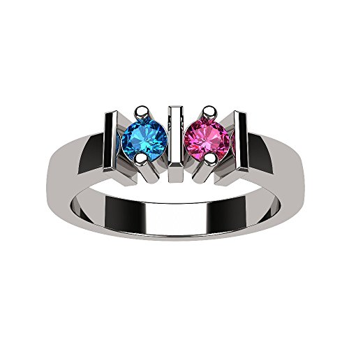 NANA Straight Bar Couples 2 stones Ring with His & Hers Simulated Birthstones- 14k White Gold - Size 6 by NaNa