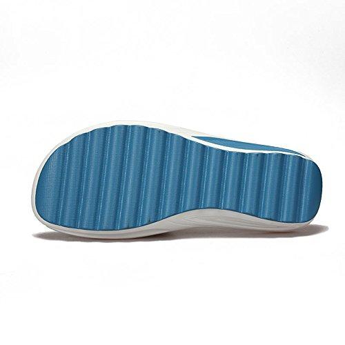 De Cuero Sandalias Chanclas Playa Peep De Gaatpot Azul Sandalias Confort Verano Zapatillas Cuña Mujer Plataforma Toe de para d8OtOCqw
