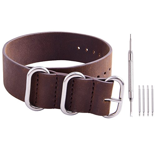 Ritche Genuine Leather NATO strap 18mm 20mm 22mm Replacement timex weekender watch band
