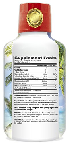 Tropical Oasis–Premium Liquid Glucosamine Chondroitin & MSM- Liquid Joint Support formula w/1500mg Glucosamine, 800mg Chondroitin, 500mg MSM –Concentrated Liquid for Max Absorption -16oz by Tropical Oasis (Image #1)