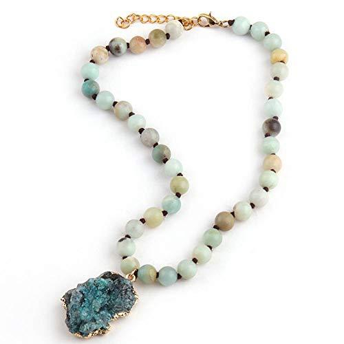 GAJSDJHN Jewelry Necklace Tribal Artisan Jewelry Knotted Stones Short Blue Green Stone Pendant Chokers Necklace