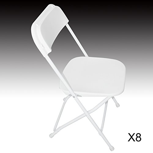 Sliverylake 8 PACK White Plastic Folding Chair Molded Seat and Back for Commercial Wedding Party Event Chair