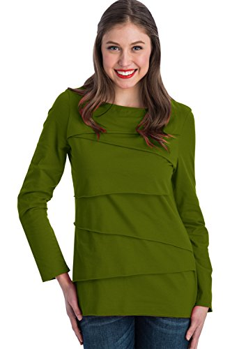 Neon Buddha Women's Beijing L/s Layer Tee, Chic Green, Small