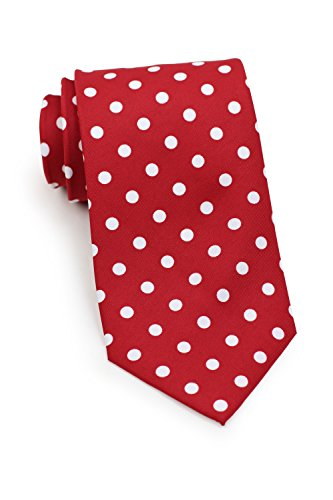 Bows-N-Ties Men's Necktie Bold Polka Dot Microfiber Satin Tie 3.1 Inches (Red and (Red Polka Dot Satin)