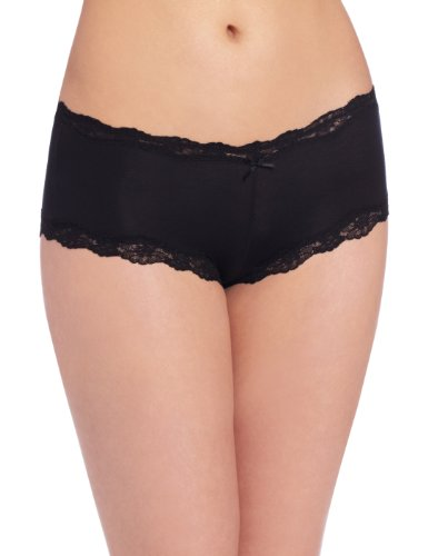 Maidenform Women's Modal Cheeky Hipster With Lace Panty, Black, 7